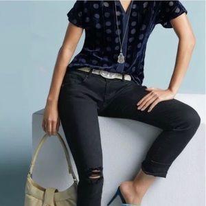 Cabi Black Distressed Slim Boyfriend jeans